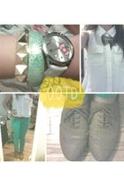 bib fushia necklace - brown oxfords shoes - aqua pants - Forever 21 bracelet