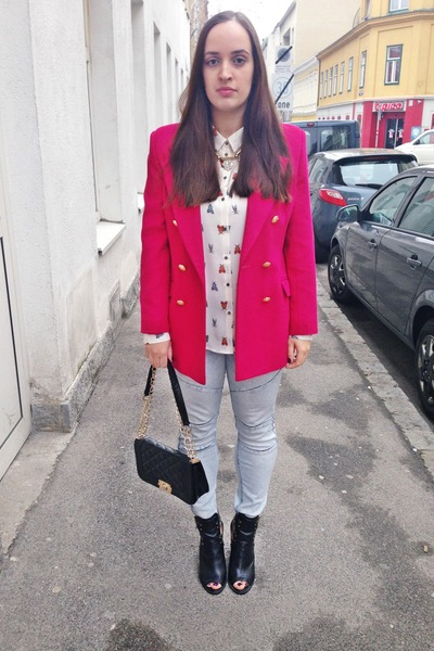 hot pink vintage blazer - cut out Primark boots - Primark jeans - Aliexpress bag