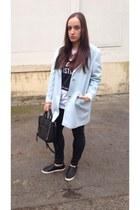 light blue Primark coat - H&M shoes - black Mango bag