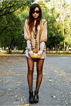 H&M dress - H&M jacket - Trousseau bag - cynthia rowley sunglasses - Zara heels