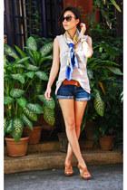 versace scarf - Forever 21 shorts - Michael Kors sunglasses - Celine belt - Fore