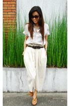 accordion vintage pants - Bakers shoes - cynthia rowley sunglasses - Zara top