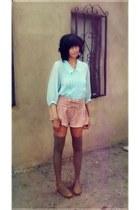 tan handmade shorts - mocha Sock Dreams socks - blue chiffon vintage blouse