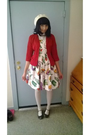 red blazer - socks - veggie print handmade skirt