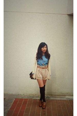 no brand shirt - no brand bag - no brand shorts - Zara loafers - no brand cardig
