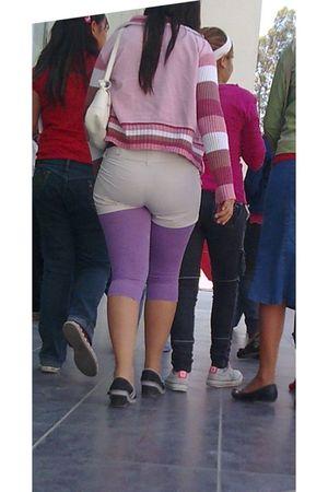 purple leggings - white shorts