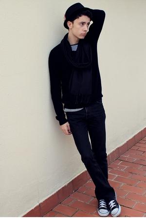 black BLANCO hat - black Bershka sweater - black jeans - black Converse shoes -
