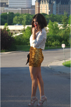 sequin skirt H&M skirt - envelope clutch Suzy Shier bag - Gucci sunglasses