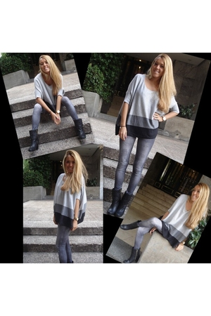 silver H&M jeans - black Burberry boots - silver Mango top