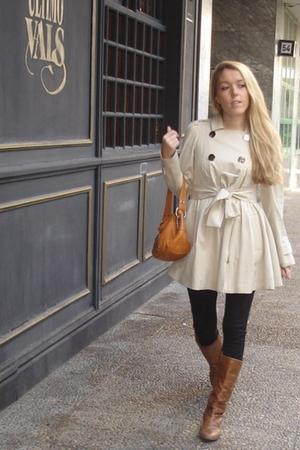 black Zara leggings - brown Zara boots - beige Sonia Rykiel coat - orange Acosta