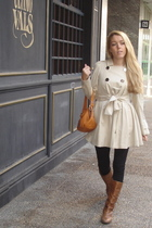 black Zara leggings - brown Zara boots - beige Sonia Rykiel coat - orange Acosta