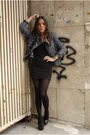 Black-h-m-dress-black-aldo-shoes-black-h-m-tights-blue-forever-21-jacket