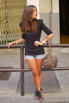 black Zara shoes - brown Misako purse - blue H&M shorts - black Zara top