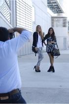 Zara dress - Aldo purse - Zara boots - H&M leggings - H&M blazer - Mango shoes