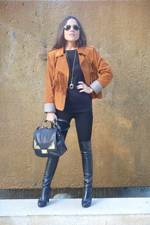 brown Uterque jacket - black Bimba & Lola boots - black Zara leggings