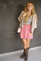 pink Zara skirt - brown Zara boots - beige Massimo Dutti jacket