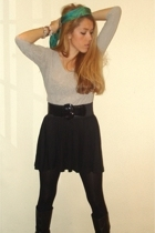 Purificacion Garcia top - H&M skirt - H&M tights - Mango belt