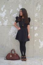 Zara shoes - black asos dress - black H&M tights - brown Marc by Marc Jacobs bag