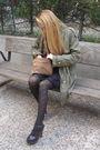 Black-zara-shoes-black-h-m-tights-black-h-m-dress-green-zara-coat-beige-