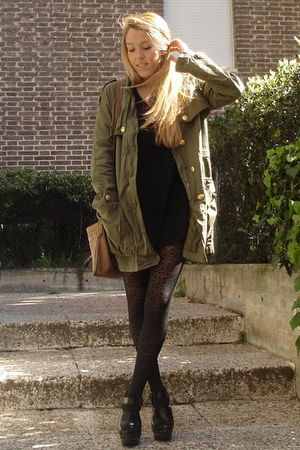 green Zara coat - black Zara shoes - black H&M dress - black H&M tights