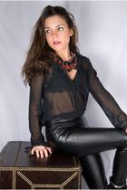Topshop pants - vintage blouse - Aldo boots - Forever 21 necklace - H&M bra