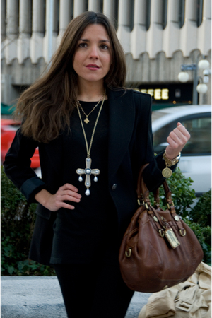 black Zara leggings - black Zara blazer - brown Marc by Marc Jacobs purse - gold