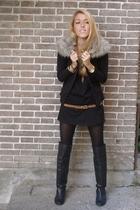 black DIY jacket - black hakei boots - black Zara dress - black H&M tights