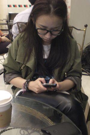 green jacket - black pants