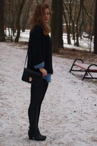 black bag - black boots - blue shirt