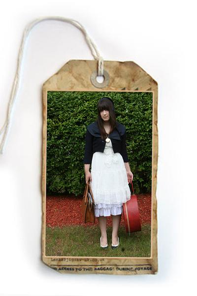 hat - dress - jacket - purse - purse - necklace