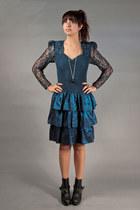 blue lace ruffle vintage dress