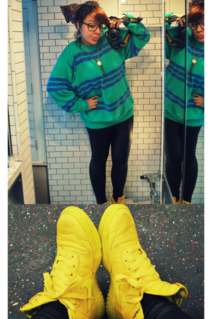 blue Thrift Store sweater - black American Apparel leggings - yellow nike shoes