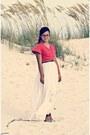 Aquamarine-wedge-sandals-bcbg-shoes-salmon-shirt-white-h-m-skirt