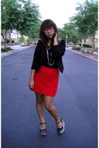 black Gap top - red H&M skirt - black H&M blazer - silver Forever 21 necklace -