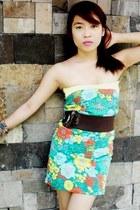 floral dress Zara dress - beaded bracelet - belted belt