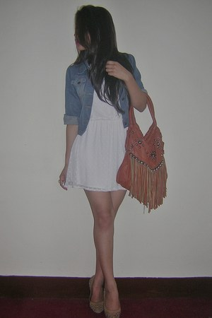 tawny bag - off white dress - blue jacket - beige flats