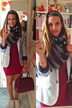 white striped H&M jacket - Primark shoes - maroon H&M dress - liu jo bag