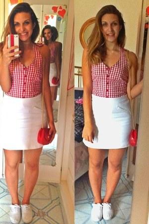 red leather Valentino bag - Primark shoes - white cotton Zara skirt