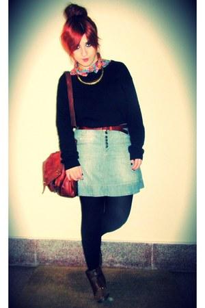 light blue denim Springfield skirt - brown metallic Shoefashionista boots
