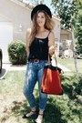 Blue-h-m-jeans-black-accessorize-hat-red-bdg-bag-black-forever-21-blouse