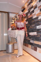 white white chic Chanel hat - white bell retro from paris pants