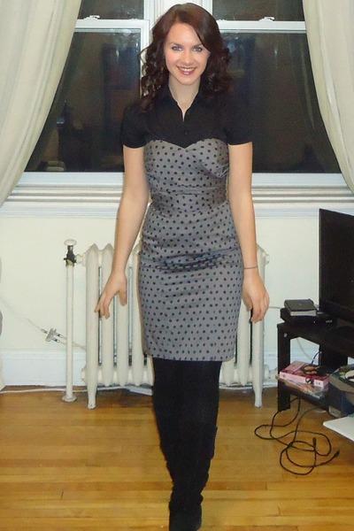 black Jacob blouse - black suede wedge Aldo boots - heather gray H&M dress