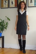 charcoal gray Jacob dress - black Aldo boots - black lace tights zellers tights