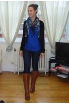 blue Ines shirt - brown Steve Madden boots - navy skinny serena Mavi jeans