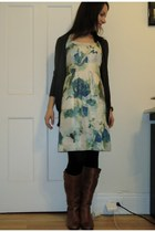 Steve Madden boots - silk floral banana republic dress - Zara cardigan