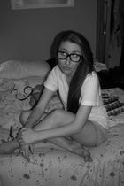 glasses - American Apparel t-shirt - unknown brand shorts - tiffanys accessories