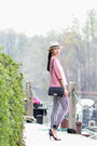 Black-skinny-jeans-hudson-jeans-ivory-j-crew-hat-pink-marni-top