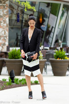 black tuxedo wool Helmut Lang blazer - black Chanel bag - white Line & Dot top