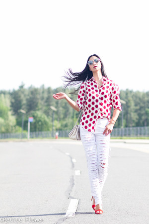 red Burberry Prorsum shirt - white EachxOther jeans - white Chanel bag