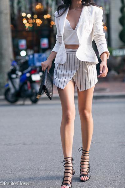 white Ralph Lauren jacket - white asos shorts - white Line & Dot bra